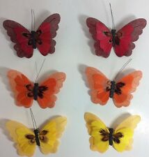 Feather Butterfly Craft Clips Fall Autumn Colors Red Orange Yellow