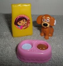 Dora The Explore Dollhouse Little Tan Dog Water and Food Bowl Dog Food Bag