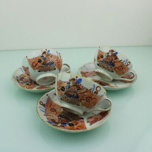 Antique Japanese warrior porcelain set of three cups & saucers.