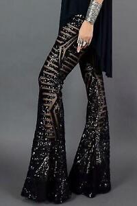 Women Black Sequin Wide Leg Pants