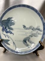 🟢RARE MEIJI 1800s AUTHENTIC ARITA JAPANESE PORCELAIN BLUE WHITE KOI PLATE