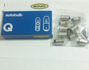 10 x Ring R987 12V 2.2W SCREW TYPE DASHBOARD PANEL CAR LIGHT BULB