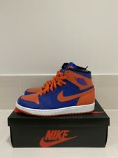 100% Authentic Brand 2013 New Nike Air Jordan 1 - Knicks - Blue Orange - UK 8