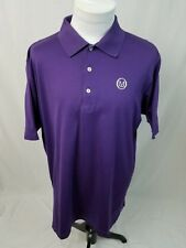 PETER MILLAR Dark Purple S/S M Logo Polo Golf Shirt Mens XL EUC