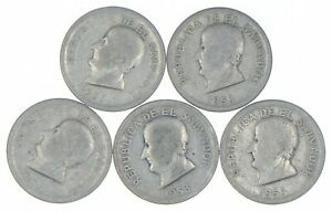Lot of 5 El Salvador 1953 25 Centavos Silver Coin Lot - Rare one Year Issue *309