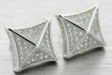.925 SILVER SIMULATED LAB MADE DIAMOND SCREW 12mm EARRINGS ICED HIPHOP PAVE BIG