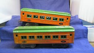 Dorfan Prewar Wide Gauge Orange Litho Pullman cars! CT
