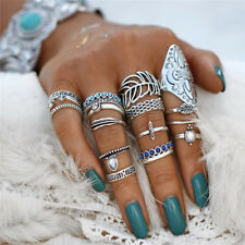 UK BOHO 18PC RING SET Bohemian Gypsy Ethnic Tribal Festival Beach Jewellery Gift
