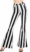Women Black & White Striped Skinny Jeans With Pockets Beetlejuice Halloween