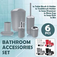 6 PIECE BATHROOM ACCESSORY SET BIN SOAP DISH DISPENSER TUMBLER TOOTHBRUSH HOLDER