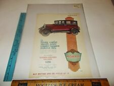 Rare Original VTG 1927 British Morris Auto Color Christmas Advertising Art Print