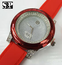 Men's Luxury Bling Hip Hop Iced Out Techno Pave Rapper's Red Silicone Band Watch