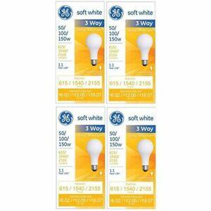GE 97494 Soft White 3-Way 50/100/150 Watt A21 Light Bulb 4-Pack