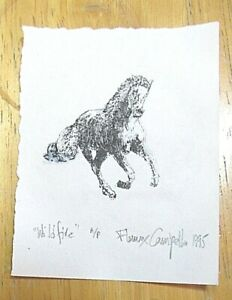 WILDFIRE white horse limited edition litho print WHOs WHO IN AMERICAN ART artist