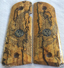 RUGER SR1911 slim~CUT SPALTED BRAZILIAN CHERRY EAGLE WINGS & MEDALLIONS F-61
