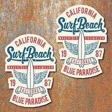 California Surf Playa Pegatinas de estilo vintage y retro clásico de coche VW Beetle Camper
