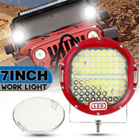Pair 7'' 300W LED Round Work Light Spotlight Offroad Driving Car Truck Boat Spot