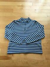 LL Bean Sweater French Sailor 1/4 Zip Pullover Blue/Cream Striped - Womens XLP