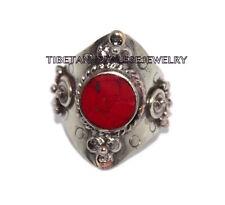 Adjustable Coral Ring Boho ring Nepal ring Tibetan ring Tibet Ring Bohemian RB1
