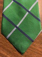 Mens Izod Tie Necktie 100% Silk Dark Green Blue Striped Stripes