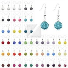 Women Rhinestone Crystal Disco Balls Earrings Round Beads Drop/Dangle 37 Colors