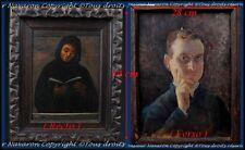 Doubles Portraits Moine Franciscain & Autoportrait du Peintre F.Pagnoti Italie