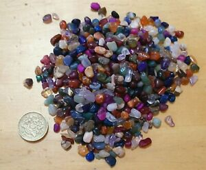 3mm to 5mm ASSORTMENT TINY POLISHED TUMBLESTONE GEM CHIP CRYSTALS 100 grams