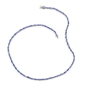 """Blue Tanzanite Necklace Platinum Over 925 Sterling Silver Gift Size 18"""" Ct 16.5"""
