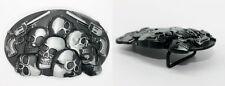 Real Men's Vintage Style Silver Black Skull Heads Pistol Guns Belt Buckle Jeans