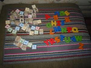 DISNEY WOODEN BLOCKS DOUG & MELISSA 40+ PLASTIC ALPHABETS PRE OWNED CRAFT IDEA