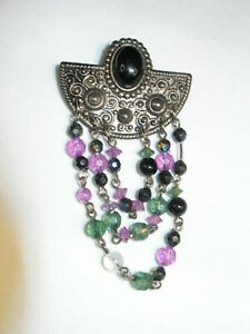 Antique Style Brooch with Black and Iridescent Beads/Faux Onyx Cabochon