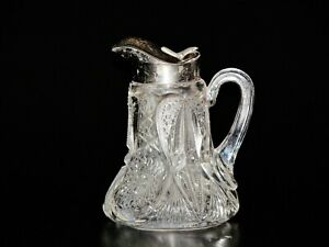 American Brilliant Cut Glass Honey / Syrup Jar With Silver plat Top.