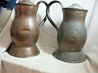 VINTAGE PAIR OF VERY LARGE LIDDED FRENCH COPPER JUGS.
