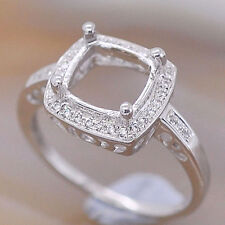 8x8mm Cushion Cut Solid 14kt 585 White Gold Natural Diamond Semi Mount Ring