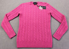 RALPH LAUREN GOLF Womens PINK 100% CASHMERE CABLE CREWNECK SWEATER NWT  S  $425
