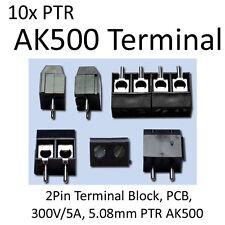 10x 2Pin Terminal Block, PCB, 300V/5A, 5.08mm PTR AK500