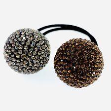 USA Hair Rope Wrap use Swarovski Crystal Ball Hairpin Ponytail Holder Brown Gray