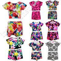 New Kids Girls Aztec Floral Printed Skort & Crop Top Set 7 8 9 10 11 12 13 Years