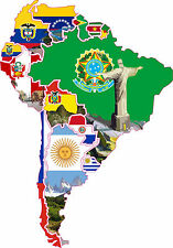 Sud America con tutti i Paesi Auto Roulotte Camion Barca barca Adesivo