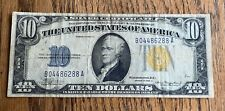 1934 A $10 SILVER CERTIFICATE NOTE - GOLD SEAL - VERY NICE DETAIL
