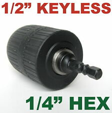 "1 pc keyless 1/16""-1/2"" Cap with 1/4"" Hex adapter Drill Chuck S"