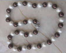"""Natural 8mm White & Chocolate South Sea Shell Pearl Necklace 18"""" AAA++"""