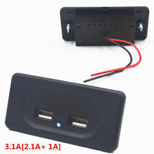 2 Ports Dual USB Charger Socket Panel Car Power Adapter Outlet 2.1A 1A Blue LED