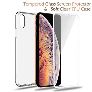 Screen Protector Glass + Soft Case For iPhone 12 Pro Max X 11 XS XR 12 Mini 7 SE