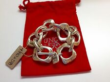 "NWT Uno de 50 Silvertone Toggle Bracelet 7"" ""You Belong To Me""  $145"