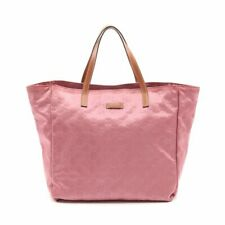 GUCCI GG Tote Bag nylon leather pink brown