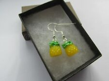 3D Pineapple Golden Tropical Fruit - Yummy 5 Five A Day Fun Earrings  - Boxed