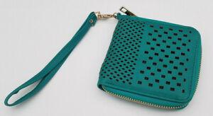"Teal Blue Green Zip Around Wallet 6 Card Slots 4.5"" x 4.5"" Wristlet Strap Vegan"