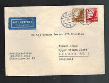 1939 Koln Germany Cover to England Judaica German Jewish Aid Committee