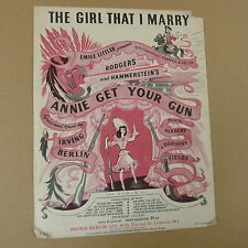 """songsheet THE GIRL THAT I MARRY """"annie get the gun"""" 1946"""